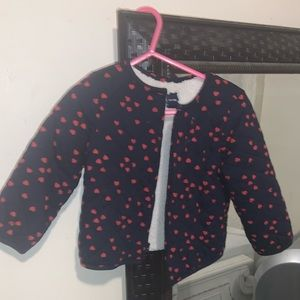 Gap quilted Navy Blue jacket with hearts.